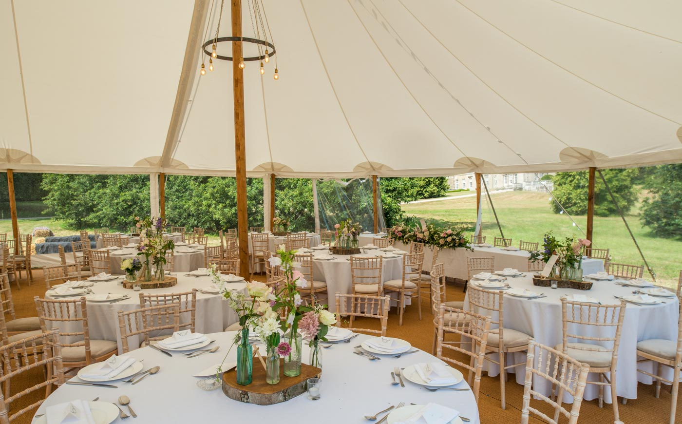 A marquee at Sledmere, a wedding venue in East Yorkshire
